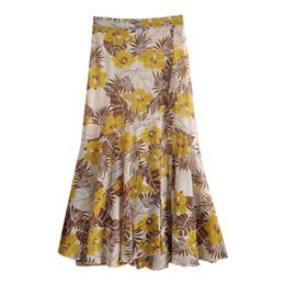 Canada fermeture à glissière stretch taille haute midi flare jupe en mousseline de soie jaune floral vintage pour femmes jupes femme cheap yellow midi skirts Offre
