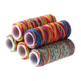 5Pcs/bag Sewing Thread Hand Quilting Embroidery Rainbow Color Sewing Thread Home DIY Accessories Supplies Gifts cheap rainbow gift bags от Поставщики радужные подарочные пакеты