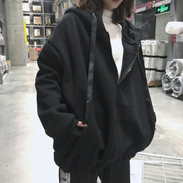 korean winter sweatshirt Coupons - Harajuku Autumn Winter Women Oversized Hoodies Korean Letter Zipper Loose Hooded Sweatshirt Coat Fleece Warm Pullover Tops