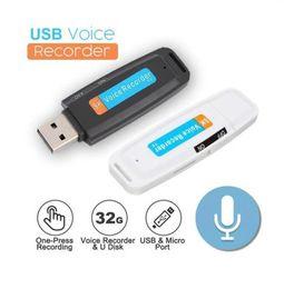 2019 gravador de voz digital sd cartão Mini U-Disk Portátil Digital Audio Voice Recorder recarregável Pen USB Flash Drive Gravadores de voz Micro Apoio TF cartão SD gravador de voz digital sd cartão barato
