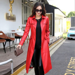 64be231e733 2018 Autumn Winter Leather Jacket For Women Slim Fit Trench Coat With  Sashes Plus Size 4XL 5XL Windbreaker Women Black Red Green