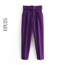 Pantalon violet bureau en Ligne-élégant sarouel violet femmes noires pantalons d'hiver poches pantalon décontracté bureau fermeture éclair taille haute femmes longues pantalons V191111