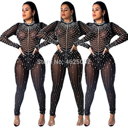 2a9d4035707 Diamond and Pearl Sheer Mesh Jumpsuit Women Sexy Long Sleeve Night Club  Party Romper Female Sheath Outfits Plus Size XL