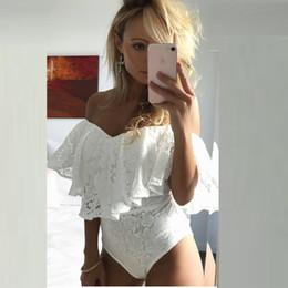 a03da6d076f 2019 Women Summer Jumpsuits White Ruffles Lace Bodysuit Off Shoulder Slash  Neck Body Top Beach Overalls Femme Sexy Bodysuits