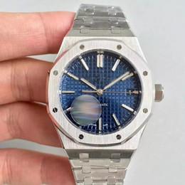 Relógios reais on-line-2019 venda quente homens assistir para homens movimento automático blue dial carvalho real série mens assistir 15400 mens relógios de aço inoxidável