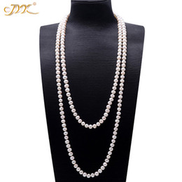 2019 collier de perles d'eau douce en blanc long Jyx Perle Chandail Colliers Longs Rond Naturel Blanc 8-9mm Naturel Perle D'eau Douce Collier Sans Fin Collier Charm 328sale J190705 promotion collier de perles d'eau douce en blanc long