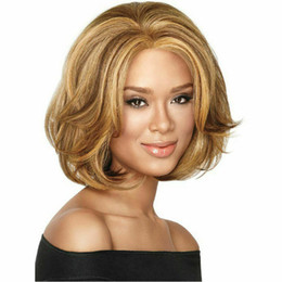 Parrucche ricci bionde corte online-Fashion Ladies Sexy Short Wig Full Brown Blonde sintetico dritto ricci partito