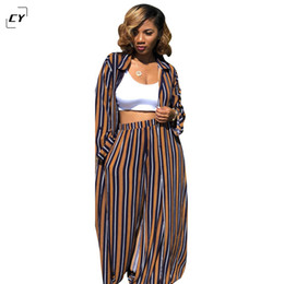 dress red stripe Promo Codes - A 2018 2 piece set women casual stripe womens clothing two piece set top and pants X-Long Blouse and Pants kimono suits