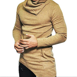 nacken-design-pullover für männer Rabatt Herren-Pullover mit hohem Kragen Unregelmäßiges Design Oberste männliche Strickjacke Einfarbig Herren Freizeitpullover Marke Pullover Pullover Für Herren