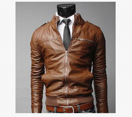 khaki motorcycle jacket Promo Codes - Motorcycle Leather Men's Designer Jackets Male Slim Coats with Zipper Man Outerwear Stand Jackets Fashion Casual Black Jacket