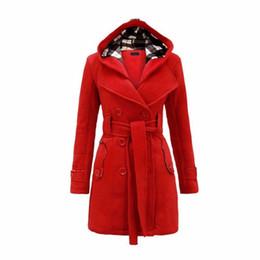2018 Herbst Winter Damenmode Lange Wolle Mäntel Rote Oberbekleidung Weiblichen Mantel mit Hut Casual Jacken Warme Fleece Für Dame Mantel