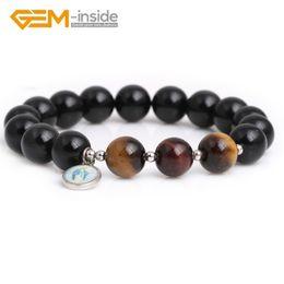 rotes schwarzes perlenarmband Rabatt Natürliche 10mm Schwarz Obsidian und Rot / Gelb Tiger Eyes Runde Perlen Stretch Heilung Reiki Mode Armband 7