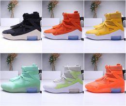 Botas de zapatos deportivos online-Mens 2019 nike Fear Of God 1 Light Bone Negro Diseñador zapatillas de deporte Moda niebla Cojín Botas Deportes Zoom zapatos 40-45