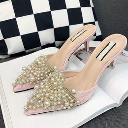 Pérolas baratas pérolas on-line-Sandálias Pérola Stiletto Mulas Sapatos De Cristal Chinelo Mulheres Rendas Apontou Toe Bombas 3 Polegada Barato Branco de Salto Alto Strass