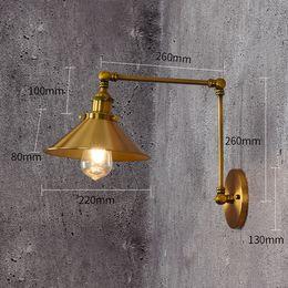 Lâmpada de braço giratório vintage on-line-110 V / 220 V Estilo Loft do vintage E27Wall Arandela Braço Swing Lâmpada de Cabeceira Modern Bronze Bronze banhado A Luz Da Parede Luminárias de Ferro abajur