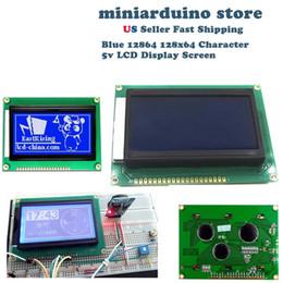 visualizzazione a punti lcd Sconti 12864 128x64 Dots Graphic Display a colori blu retroilluminazione modulo display LCD per arduino
