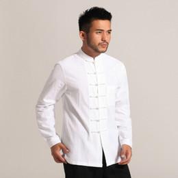 Camisa de lino kung fu online-Hombre blanco Algodón de lino Camisa de Kung Fu de manga larga Estilo Chino Clásico Ropa Tang Tamaño S M L XL XXL XXXL Hombre Camisa