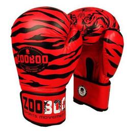 engrenagem de treinamento de boxe Desconto Atacado-10Oz Zooboo Pu Couro Tigre Imprimir Luvas De Boxe Mma Gêmeas Luta Luvas De Perfuração Kick Muay Thai Ginásio Treinamento De Boxe Engrenagem