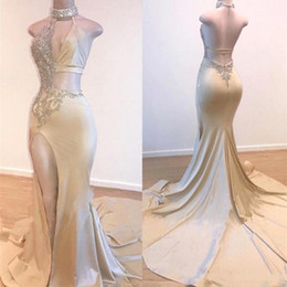 Robes ouvertes en Ligne-2019 Sexy Mermaid Prom Dresses Keyhole Neck Beaded High Neck Split Satin Long Evening Gowns Open Back Cutaway Sides Vestidos