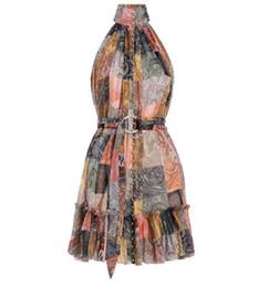 Ropa de un solo vestido online-2019 marca vestidos de verano de las mujeres monos mamelucos vestido Nueva fila única botón abierto impresión retro colgando cuello seda chaleco vestido ropa de mujer