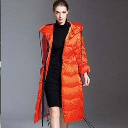 Arancione Moda rivestimento lungo caldo di Down Parka casuale inverno del cappotto del rivestimento delle donne Plus Size incappucciato Piuma Slim