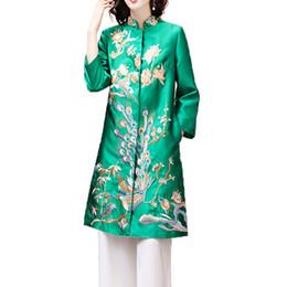 2018 осень зима китайский стиль топ вышивка ветровка для женщин от Поставщики азиатская девушка воротник