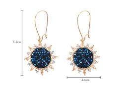 Flor de safira azul on-line-Moda All-in-one Sapphire Blue Sun Disco Brincos Temperamento Elegante Flash de Cristal Flores Longos Brincos Pingente Brincos Gancho