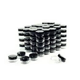 Uv kosmetik online-Probengefäße für Kosmetikbehälter mit schwarzen Deckeln Probengefäße für Make-up aus Kunststoff BPA-frei Einmachgläser 3 g 5 g 10 g 15 g 20 Gramm