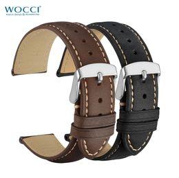 WOCCI Bracelet de montre en cuir véritable Vinatge Style Bandeaux de chevaux fous brun Noir Largeur de bande 14mm 16mm 18mm 19mm 20mm 21mm 22mm 24mm ? partir de fabricateur
