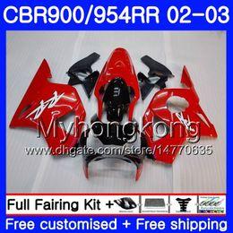 954 rote verkleidungen online-Karosserie für HONDA CBR900RR CBR 954 RR CBR900 RR CBR954 RR 280HM.15 CBR 900RR CBR954RR 03 03 CBR 954RR 2002 2003 Verkleidungen Gloss red frame kit
