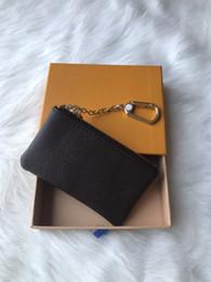 простой кожаный брелок Скидка Франция стиля Дизайнер монета мешок мужчин женщины леди Роскошного кожаный портмоне ключ бумажник мини бумажник серийный номер коробка