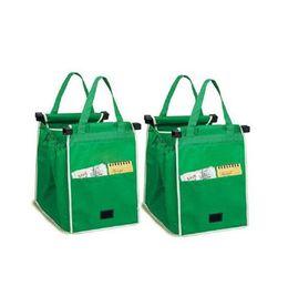 le spedizioni di carrello di shopping Sconti Borsa a mano Clip-to-Cart Drogheria Shopping Bags Riutilizzabile Eco Shopping bag pieghevole Borse di stoccaggio Scatole Cestini BIg taglia B11