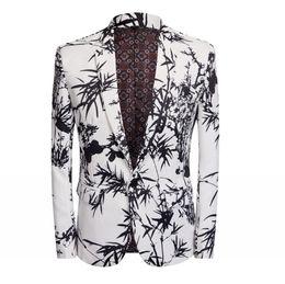 2019 blazers prom YUSHU Slim Fit Giacca Blazer Uomini Nightclub Prom Suit Blazer Uomini Costume Homme Abiti da palco Per cantanti blazers prom economici