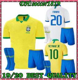S-XXL 2019 Brasil inicio Kit adulto Fútbol Jersey 19 20 Brasil amarillo FIRMINO MARCELO G.JESUS P.COUTINHO camisetas de fútbol + calcetines desde fabricantes