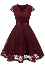 bridesmaid dresses lace belt Promo Codes - New Women's Vintage V Neck Sleeveless Belt Floral Lace Wedding Party Tank Dress burgundy Bridesmaid A Line Dresses Robe Vestidos FS3893