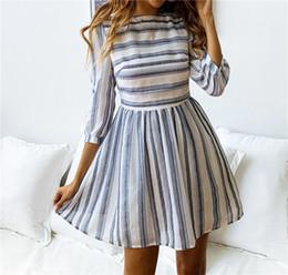 cf55d4ad10d 2019 DHL Women 3 4 Sleeve Striped Summer Dresses Elastic Waist Tunic T-Shirt  Dress Casual Striped Half Sleeve A Line Short Dress