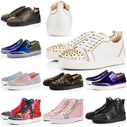 Talons bas en Ligne-Haut spike Paris bas designer de luxe bas haute coupe Party Lovers femmes chaussures baskets rouges talons baskets Crystal femmes 35-46