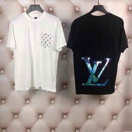 camisa preta gravata branca Desconto Atacado 2020 New Luxury Designers Paris fãs camisetas Mens Vestuário Mulheres Verão Casual camisetas carta Cotton moda manga curta MEdu