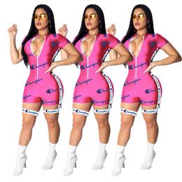 Barboteuses moulantes en Ligne-2019 Femmes Combinaisons Night Club Rompers Été Moulante Sexy Col En V Zipper À Manches Courtes Une Pièce Body De Mode