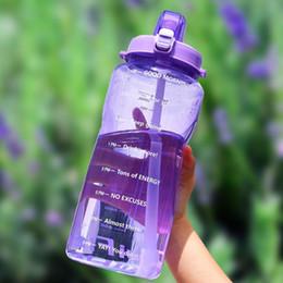 2019 palestra bottiglia shaker Quifit 2l 3.8l Gallone Tritan Sport Bottiglia d'acqua con cannuccia Grande proteina Shaker Bottiglie per bevande Tazza di zucca Brocca Bpa Palestra all'aperto gratuita J190722 palestra bottiglia shaker economici