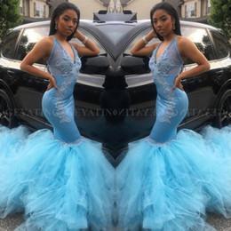 Mädchen robe größe 12 online-Sexy Sky Blue Mermaid V-Ausschnitt Ballkleider 2019 Sheer Applique Plus Size Black Girl African Party Abendkleider Robe De Soiree