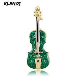 Instruments de musique de violon en Ligne-Vert émail guitare violon broches et broches pour les femmes bijoux de noël instrument de musique en métal broche cadeau de nouvel an