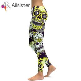 2019 più stampa cranio leggings leggings Hot Women's Skull Leggings 3D Stampa Plus Size Work Out Leggings Pantaloni Pantaloni Stretch Pants Leggins Femme sconti più stampa cranio leggings leggings