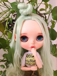 cat doll eyes Coupons - RBL Blyth Doll NBL 1 6 BJD Customized Frosted Face,big eyes Fashion girl makeup Ball Jointed Doll with Mint Green hair T200428