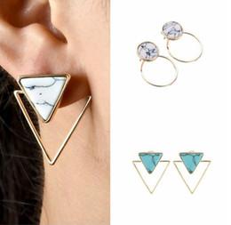 Gli orecchini semplici di nuovo di modo triangolari / rotondi / quadrati geometrici di marmo bianchi della pietra preziosa del turchese orecchini delle signore liberano il trasporto da
