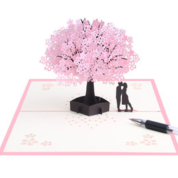 Convite 3d on-line-Sakura tree cartões 3d estereoscópico cartão de convite manual escultura de papel jardim de flores fontes do partido de casamento romântico 11xda c1