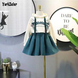 Corea establece niña online-Yorkzaler Spring Autumn Korea Ropa para niños Set para niña Sudadera estampada + Falda Casual Girl Party Outfits Algodón Ropa para niños SH190912