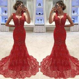 2019 vestido de noite vermelho completo Encantador Magro Vermelho Sereia Vestidos de Noite Lace Applique Decote Sheer Comprimento Sem Mangas Compridos Vestidos de Festa de Formatura desconto vestido de noite vermelho completo