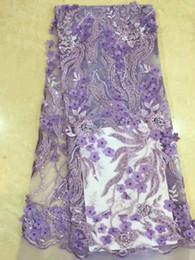 Deutschland 2019 afrikanische Qualität Net Hochzeit Spitze Stoff Perlen New Nigeria 3D Blume Guipure Tüll Nähen Abendkleid cheap net fabric flowers Versorgung