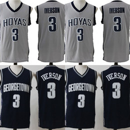 2019 curry de oro blanco 2018 Mans New # 3 Allen Iverson Georgetown Hoyas College Basketball Jersey Jerseys bordados cosidos Jerseys para hombre S-3XL